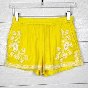 J. Crew Embroidered Yellow Shorts Size 0